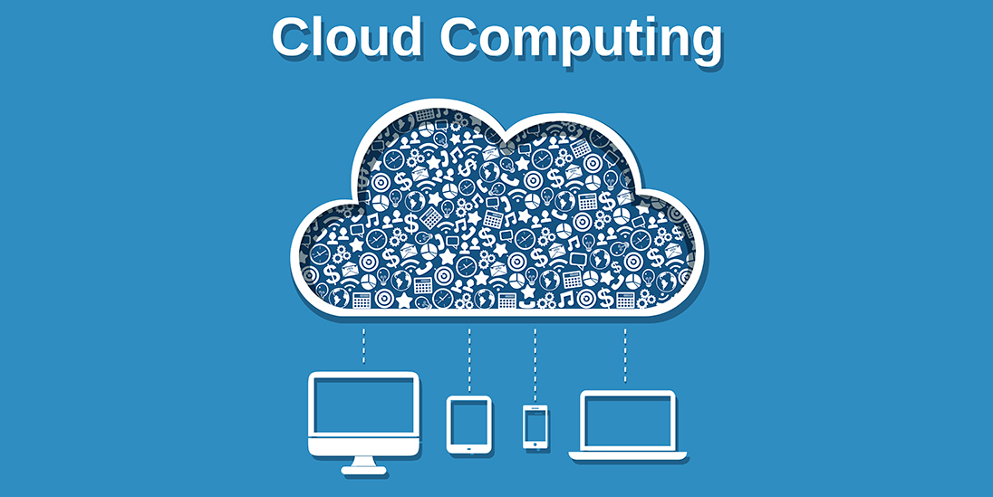 Cloud computing concept with business icons and computer devices vector illustration